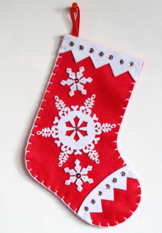 Handmade Felt Christmas Stocking Red Stocking And White