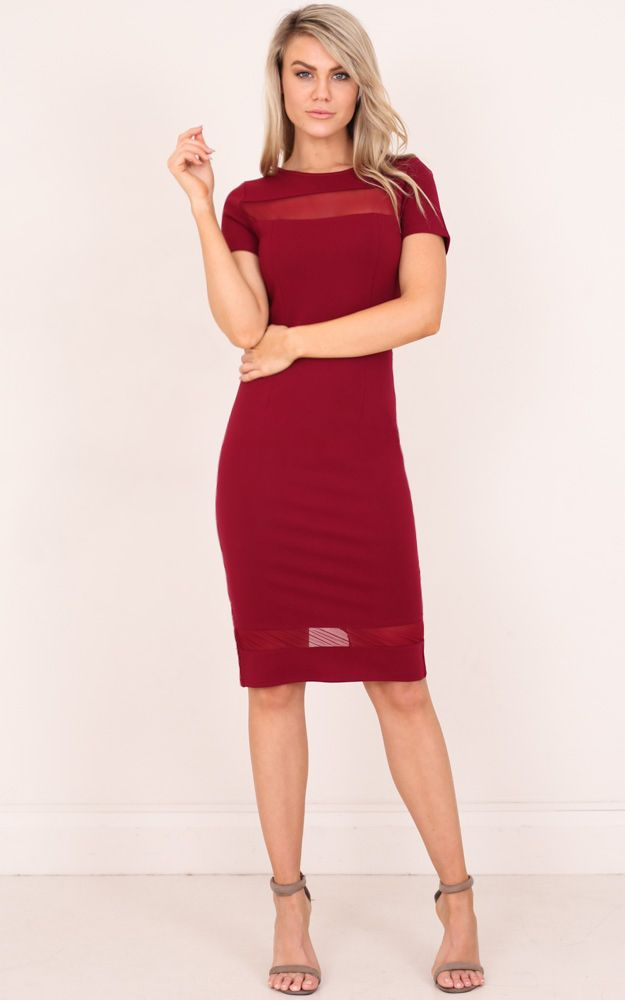 Our Jessie dress is the classic chic work dress. The sheer panels at the top and bottom are a cute feature to change it up a bit. The cinched waist is super flattering. This is the perfect dress to wear year round.