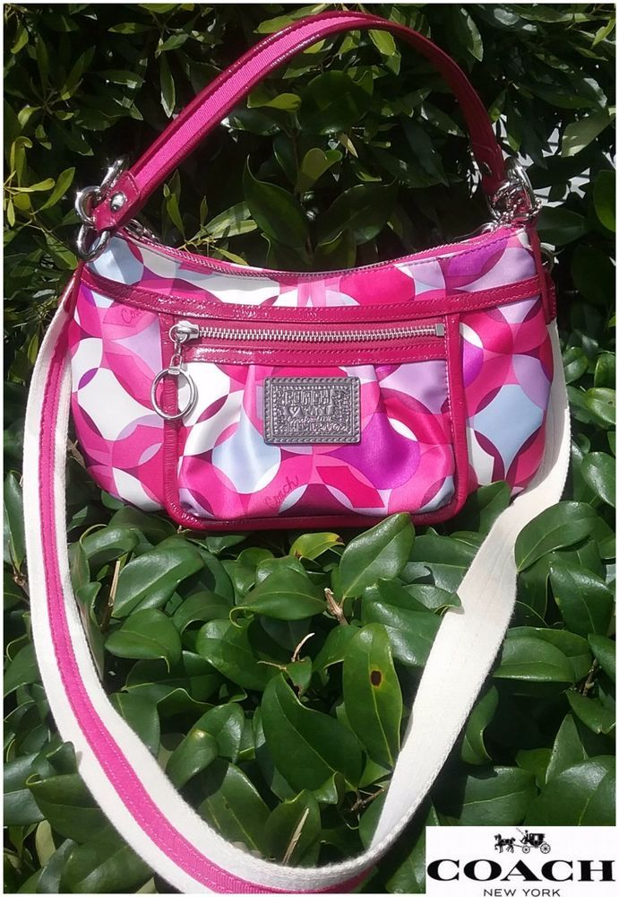 Coach #A1068-14736 Poppy  Colorful Pink Kaleidoscope Santeen Shoulder Bag. #Coach #ShoulderBagCrossbody