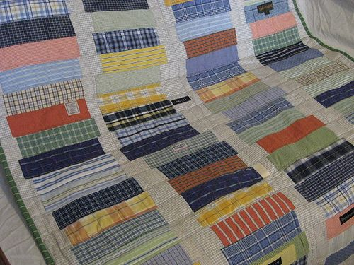 Upcycled shirt crib quilt. Reclaimed thrifted men's shirts.