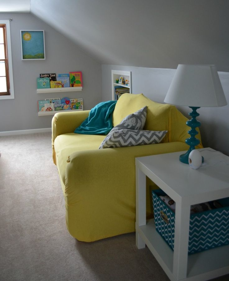 grey and teal baby nursery | Baby Boy's Yellow, Grey, and Teal Attic Nursery | Project Nursery