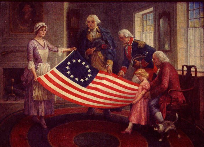 Admiring the flag... George Washington With Betsy Ross and New Flag