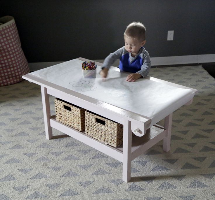 Ana White   Build a HOW TO: Simple Kids Pine Play Table with Paper Roll Holder #PaintitPink   Free and Easy DIY Project and Furniture Plans