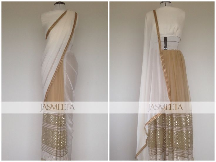 Beige and Ivory Saree or Lehenga available now #youchoose Please note the piece is unstitched at the moment, and will be sewn into either the saree or the lehenga. The piece will be made from a soft beige net with ivory embroidery, ivory chiffon and will come with an ivory soft silk blend blouse piece.