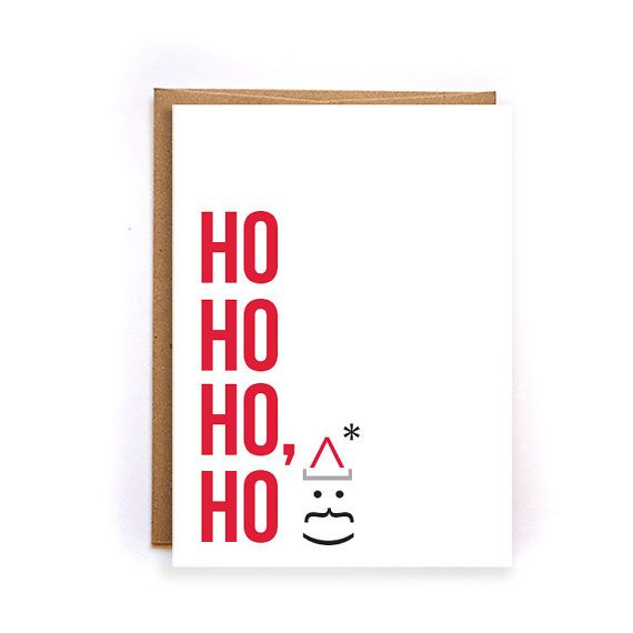 Business christmas cards Ho Ho Ho card red by NirvanaDesignsGifts