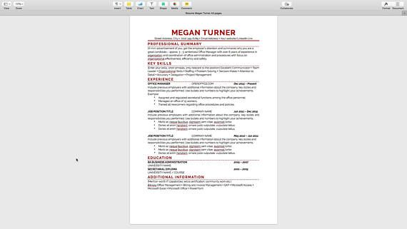simple one page resume template