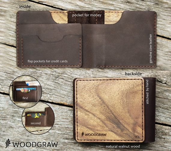 Wooden Leather Wallet Personalized Leather Wallets by WOODGRAWshop