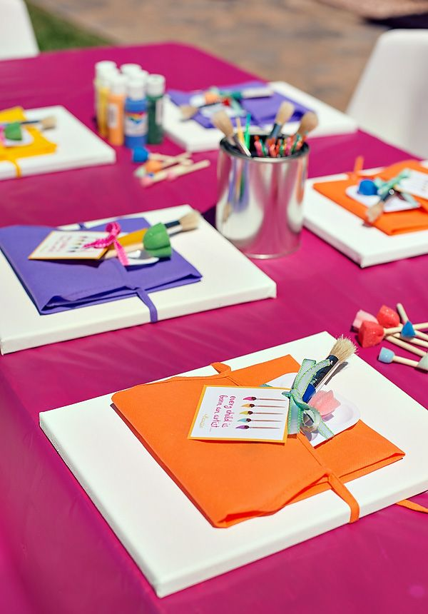 12 Birthday Party Craft Activities for Kids - aprons with canvas and other supplies