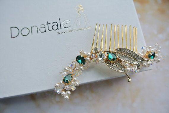 EMERALDINE  - Wedding Hair Piece Wedding Headpiece Emerald Green hair Comb Gold Bridal Hair Comb Pearl Hair Comb Wedding Hair Accessory UK