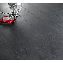 Black slate tile effect laminate flooring kitchen home for Black tile effect vinyl flooring