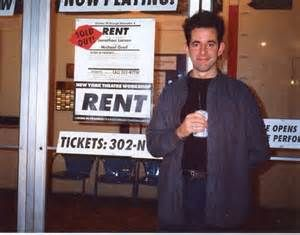 An old photo of Jonathan Larson outside New York Theatre Workshop before the opening of RENT in 1994. Still one of the most exciting places to see a production in the city today!