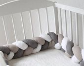 Baby crib bumper, LINEN, Mixed color Braided Crib Bumper, Crib Bedding, Knot Pillow, Linen Pillows, Nursery Decor, baby shower gift