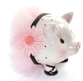 $38.50 Adorable little piggy is made just for your little princess! She's a cute little piggy in her pink tutu and pretty flower. Hand painted piggy bank stands approx. 6 inches tall. Comes packed in it's own pretty little hat box.