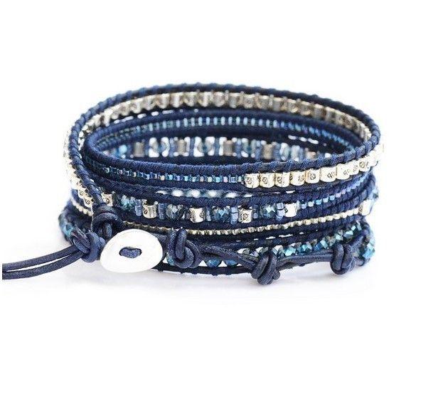 5 Strands Wrap Bracelet Natural Blue Crystal Mix Seed Bead Lucky Silver Pendant Decoration On Leather Bangle Chan Lu Jewelry // Price: $34.64 & FREE Shipping Worldwide //     #clothing #fashion #lady #dress #fashiongirls #womenfashion #fashionguide #makeup #face