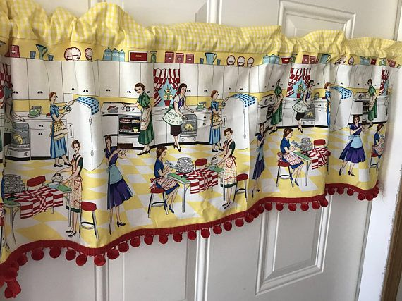 Retro Kitchen Scene Vintage Curtain Valance With Gingham And Kitchen Curtains Vintage Curtains Vintage Kitchen Curtains