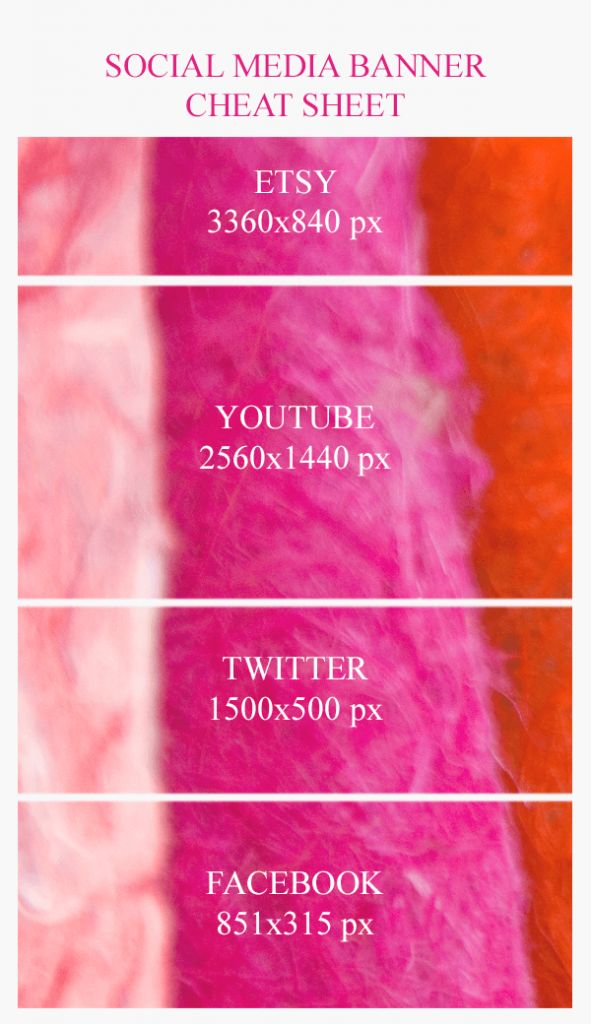 Social Media Banner Cheat Sheet - Learn what size to make your Etsy, YouTube, and Facebook cover photo!