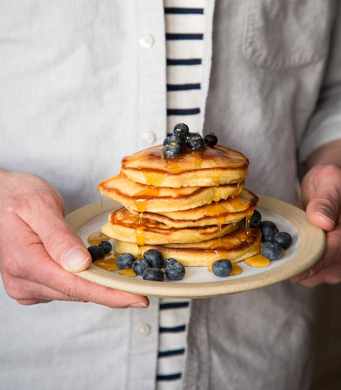 Zoe's Crème Fraîche Pancakes Ingredients 1 ½ Cups King Arthur Flour 3 tbsp. Organic Sugar 2 tsp. Farmhouse Pottery Coastal Sea Salt 2 tsp. Baking Powder ½ cup V