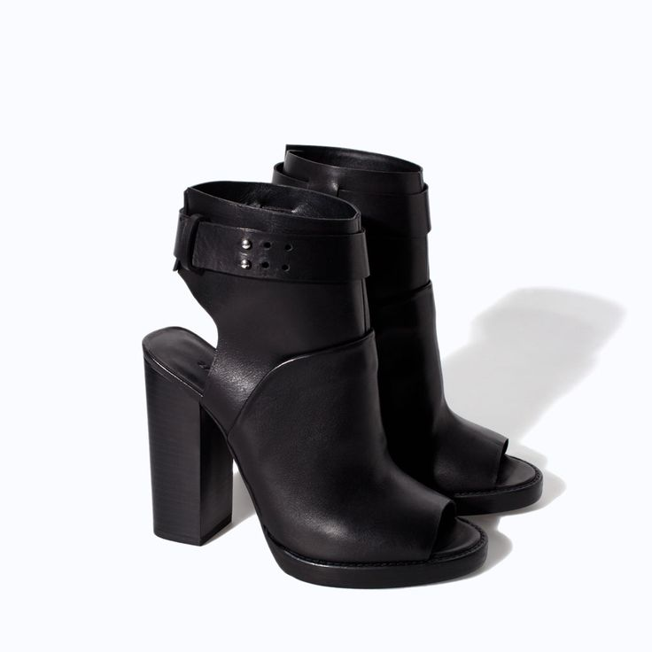 Hot hot hot -ZARA - WOMAN - LEATHER HIGH HEEL PEEP TOE ANKLE BOOT