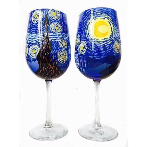 Gifts For Wedding Night: Van Gogh Starry Night Inspired Hand Painted Wine Glasses