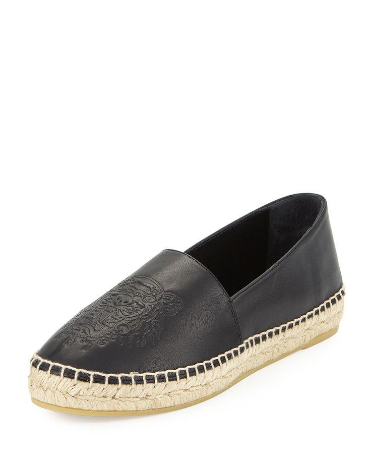 Kenzo Tiger Platform Leather Espadrille, Black (Noir)