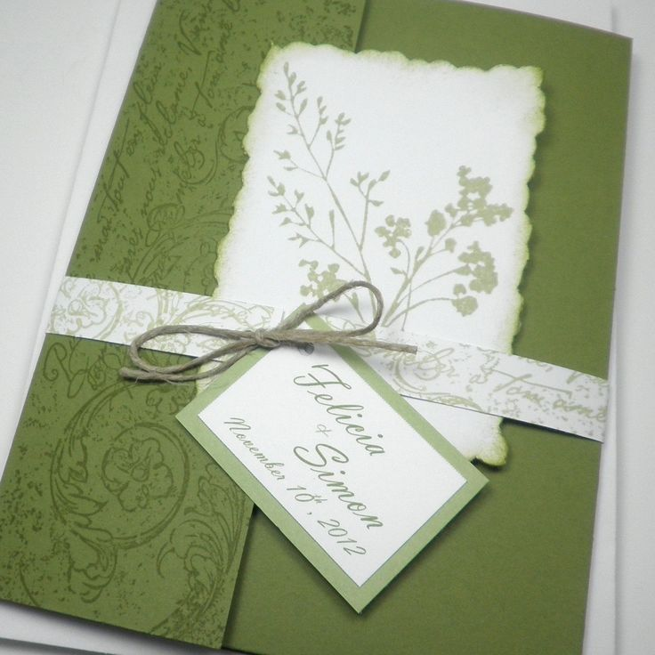 Green White Garden Fabulous Floret Pocketfold Wedding Invitation