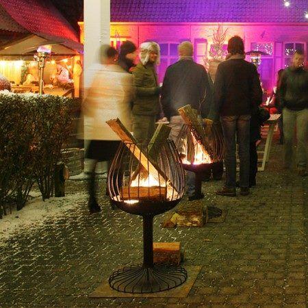 Vuurkorf 'Fireglass' (Ø 51 x 92 cm, gecoat staal in zwarte hittebestendige lak)