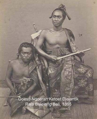 Gusti Ngurah Ketut Djelantik the king of Buleleng kingdom and his assistant.