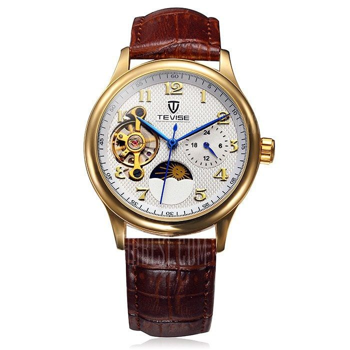 Tevise 8466 Tourbillon Design Leather Band Men Automatic Mechanical Watch -$26.52 Online Shopping| GearBest.com