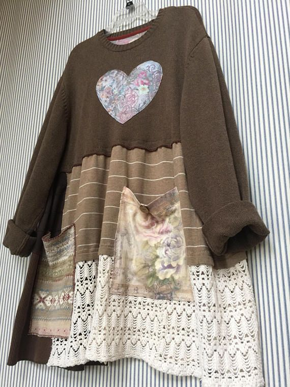 Upcycled Plus size Pullover SweaterTunic Oversized Shabby