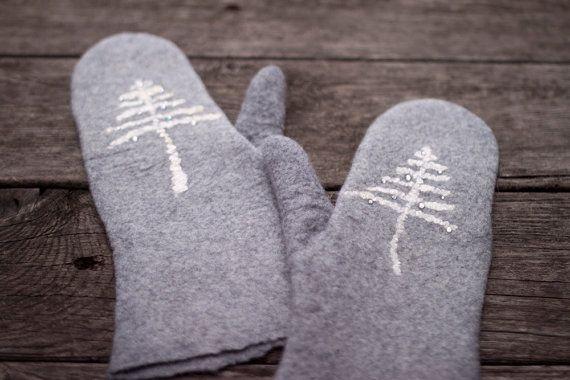 Felted grey mittens merino wool mittens winter white tree