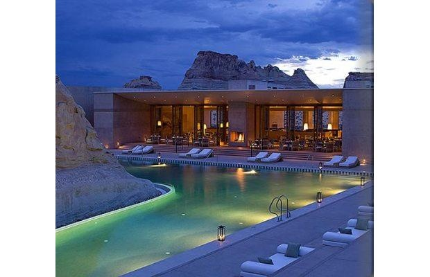 Amangiri resort pool, Canyon Point, Utah The resort and pool are designed to blend into the natural landscape, embracing a dramatic stone escarpment.