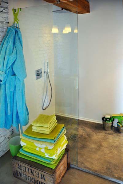 I Love The Stained Concrete Shower Floor Basement Ideas Pinterest Concrete Shower