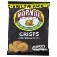 MARMITE CRISPS. 18 X 50g BIG LOVE BAGS. LOTS OF YOUR OTHER FAVOURITES LISTED.