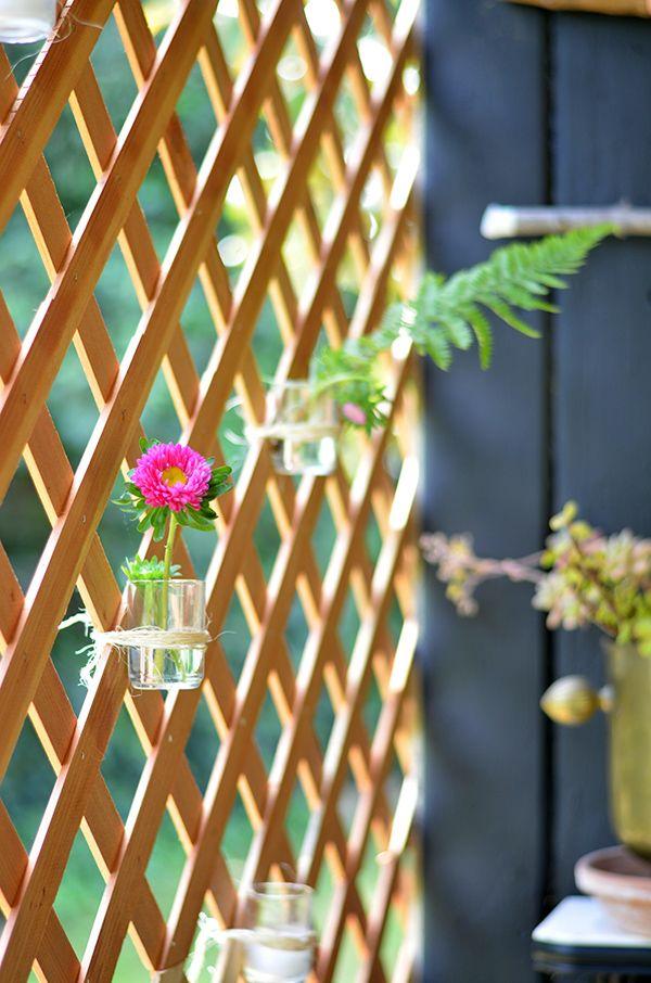 A boho patio makeover via the power of paint home decor for Hanging patio privacy screen