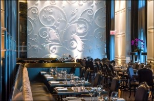 Grazed textural feature wall and walls between windows.  Trump-Toronto-Stock-restaurant