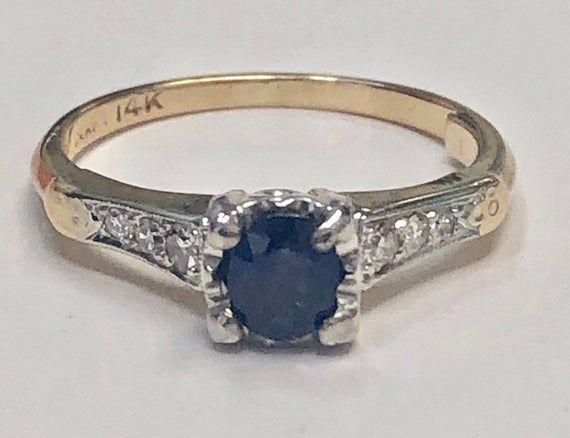 Art Deco 14k Gold Old Engagement Ring Heartcraft Hallmark Vintage