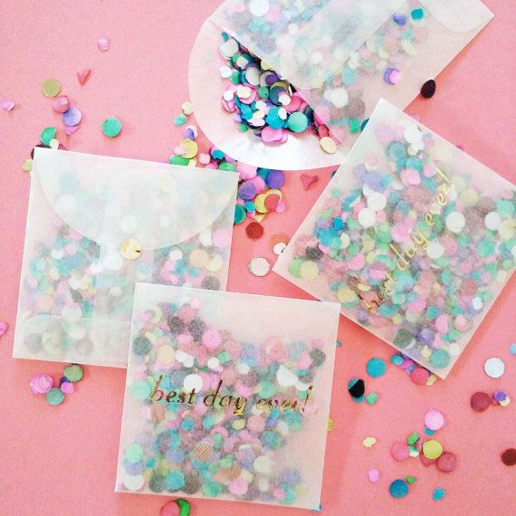 (12) packets of Glassine Envelope Confetti Toss Favors with Best Day Ever! in gold foil.  Instead of rice for your wedding why not toss these colorful