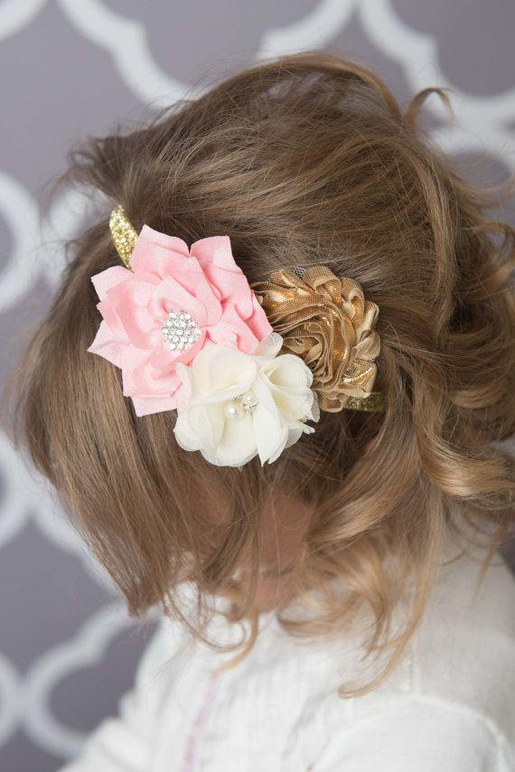 Pink elastic headband pink flower headband gold headband