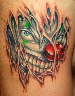 clown tattoos   Evil clown tattoo