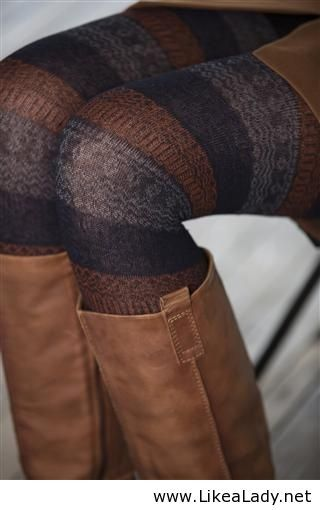 brown, gray, and black striped tights with boots.