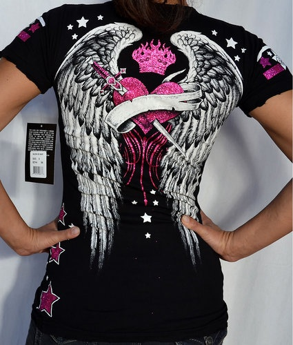 Sinful by Affliction SALEM Women's Short Sleeve T-Shirt - S1613 - NEW - Black | eBay