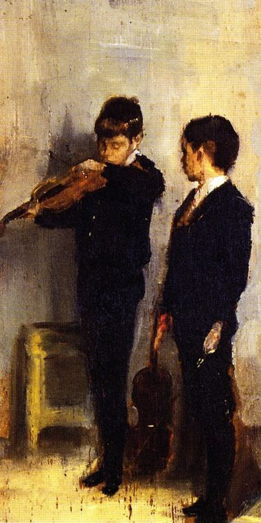♪ The Musical Arts ♪ music musician paintings - The Violin Lesson, 1889, Tom Roberts