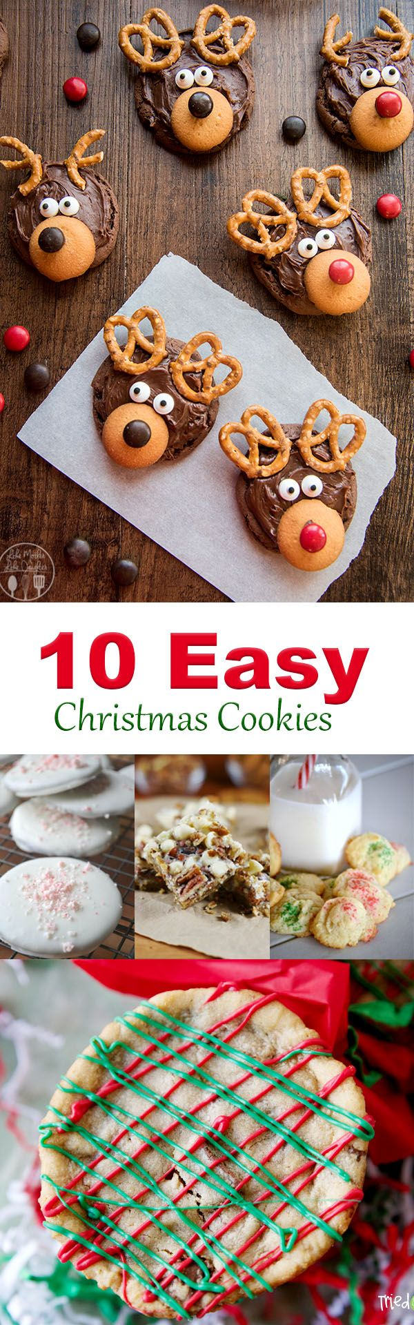 Ten of the easiest Christmas Cookie Recipes.  Easy Christmas Cookie recipes for reindeer cookies, gingerbread cookies, red and green cookies, and more.