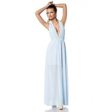 hellblaues Kleid - reizvolles Kleid in Wickeloptik- feminine Passform ...