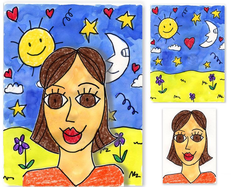 Art Projects for Kids: 5th grade self portraits inspired by James Rizzi. Fun, vibrant backgrounds. Self portrait is created separately, cut out, and glued to background with foam core in between to give it dimension.
