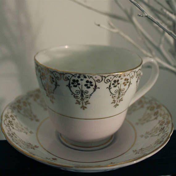 Dakin vintage china tea cup & saucer set of 3 white pink