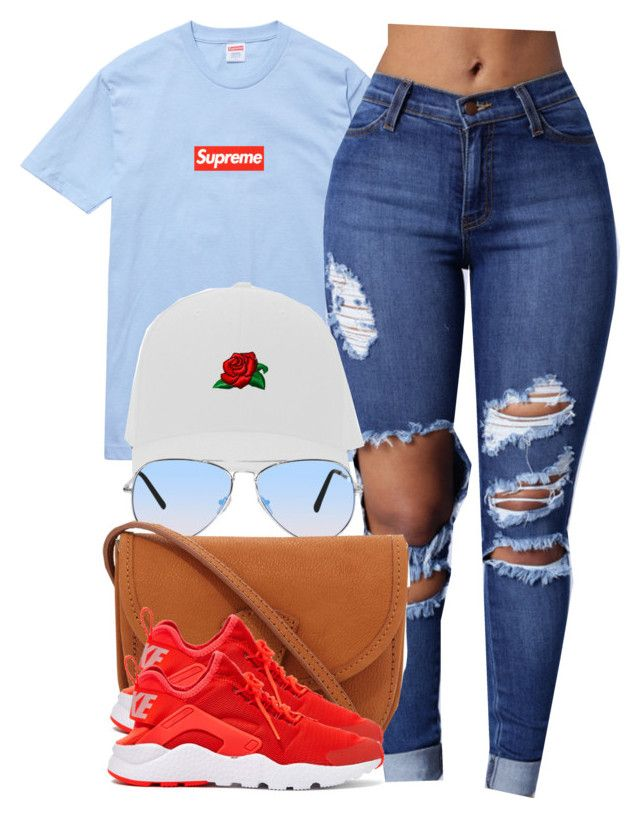 """Supreme x Roses"" by cheerstostyle ❤ liked on Polyvore featuring Champion and NIKE"