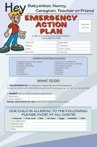 free anaphylaxis emergency action plan poster