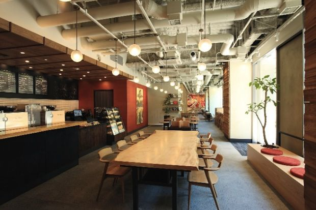 """Starbucks opens new """"traditional Japanese crafts"""" branch in Meguro. Shot of the end of the shop."""