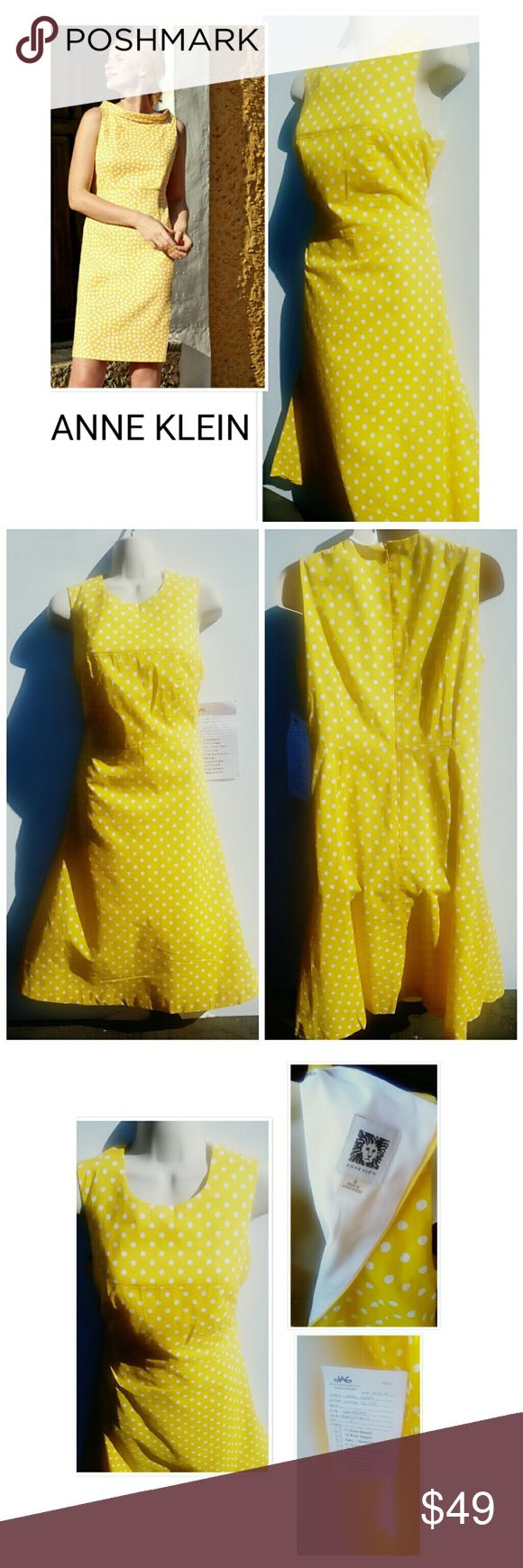 NWT! LEMONADE YELLOW/WHITE POLKA-DOT DRESS 6 ANNE KLEIN LEMONADE YELLOW AND WHITE POLKA-DOT DRESS  EXCELLENT ANY OCCASION  DRESS BUST 34IN  WAIST 16IN  LENGTH 39IN  BUY NOW OR BUNDLE AND SAVE Anne Klein Dresses Midi